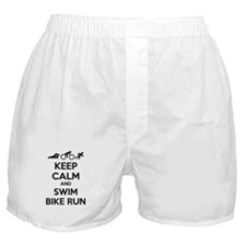 Keep calm and swim bike run Boxer Shorts