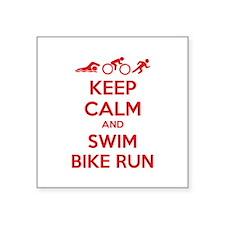"Keep calm and swim bike run Square Sticker 3"" x 3"""