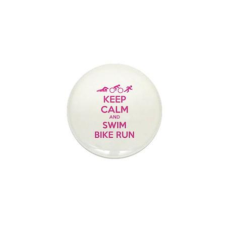 Keep calm and swim bike run Mini Button (100 pack)