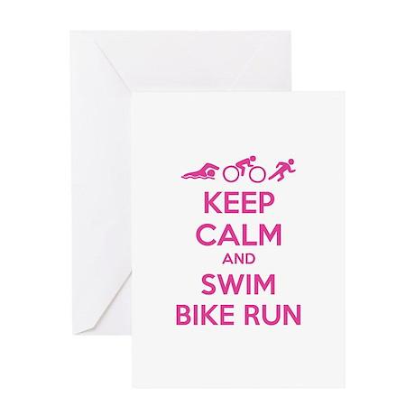 Keep calm and swim bike run Greeting Card