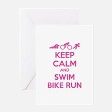 Keep calm and swim bike run Greeting Card