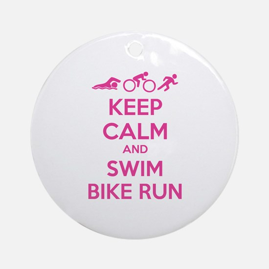 Keep calm and swim bike run Ornament (Round)