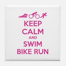 Keep calm and swim bike run Tile Coaster