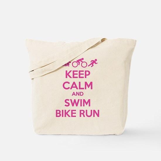 Keep calm and swim bike run Tote Bag