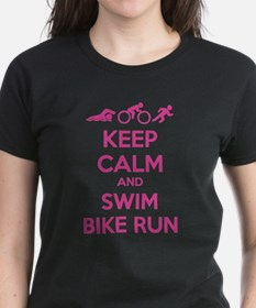 Keep calm and swim bike run Tee