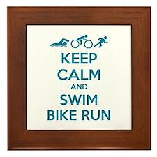 Keep calm and swim bike run Framed Tile