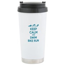Keep calm and swim bike run Travel Mug