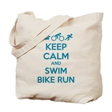 Keep calm and swim bike run Tote Bag