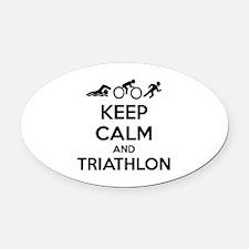 Keep calm and triathlon Oval Car Magnet