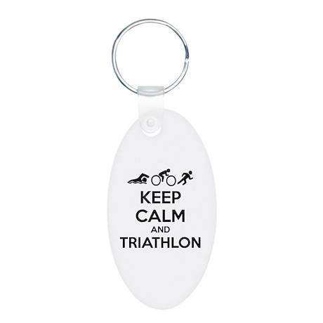 Keep calm and triathlon Aluminum Oval Keychain