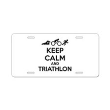Keep calm and triathlon Aluminum License Plate