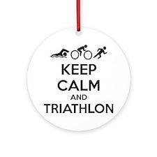 Keep calm and triathlon Ornament (Round)