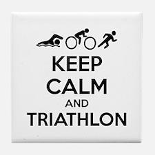 Keep calm and triathlon Tile Coaster