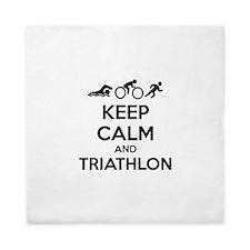Keep calm and triathlon Queen Duvet
