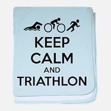Keep calm and triathlon baby blanket