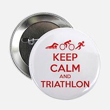 "Keep calm and triathlon 2.25"" Button"