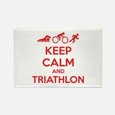 Keep calm and triathlon Rectangle Magnet (100 pack