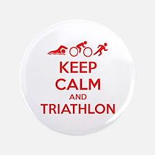 "Keep calm and triathlon 3.5"" Button"