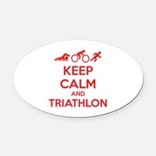 Keep calm and triathlon Oval Car Magnet