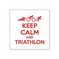"Keep calm and triathlon Square Sticker 3"" x 3"""