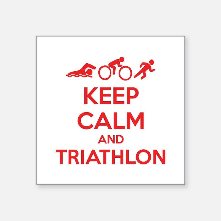 "Keep calm and triathlon Square Sticker 3"" x 3"""