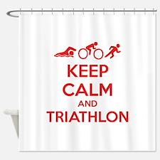 Keep calm and triathlon Shower Curtain