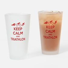 Keep calm and triathlon Drinking Glass