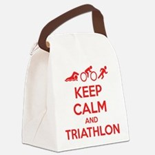 Keep calm and triathlon Canvas Lunch Bag