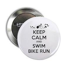 "Keep calm and triathlon 2.25"" Button (10 pack)"