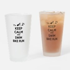 Keep calm and triathlon Drinking Glass