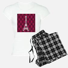 Pink and Black Background Eiffel Tower Pajamas