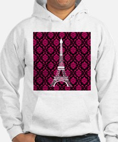 Pink and Black Background Eiffel Tower Hoodie
