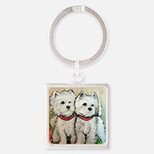 West Highland Terrier Spring Square Keychain