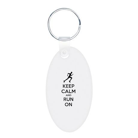 Keep calm and run on Aluminum Oval Keychain