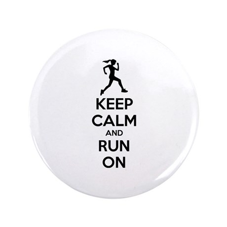 "Keep calm and run on 3.5"" Button (100 pack)"