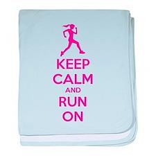 Keep calm and run on baby blanket