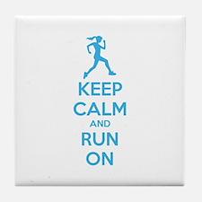 Keep calm and run on Tile Coaster