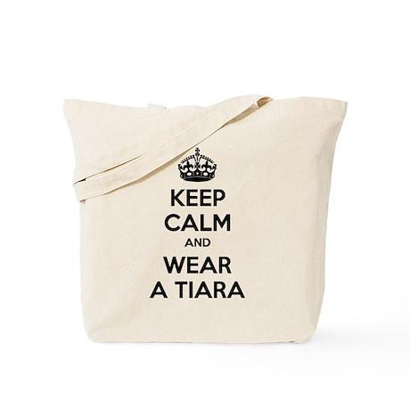 Keep calm and wear a tiara Tote Bag
