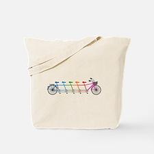 colorful tandem bicycle, team bike Tote Bag