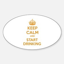 Keep calm and start drinking Sticker (Oval)