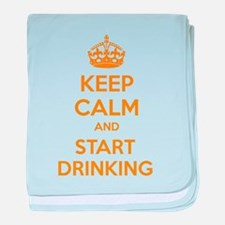Keep calm and start drinking baby blanket