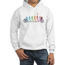 colorful tandem bicycle with cute birds family Hoo