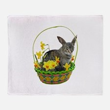 Easter Bunny Cat Daffodils Throw Blanket