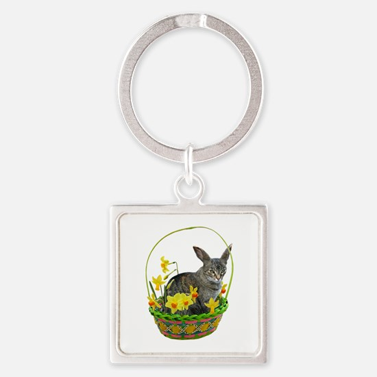 Easter Bunny Cat Daffodils Square Keychain