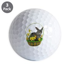 Easter Bunny Cat Daffodils Golf Ball