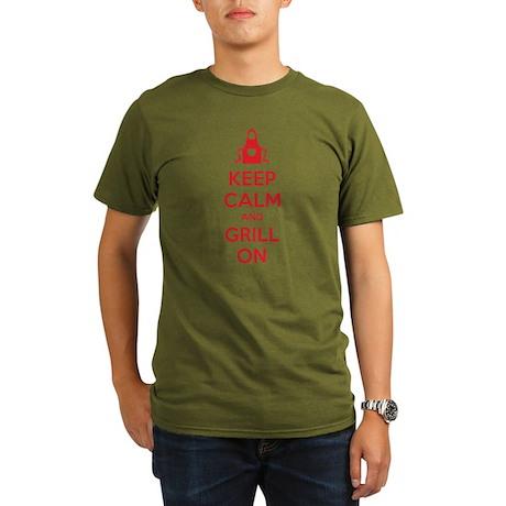 Keep calm and grill on Organic Men's T-Shirt (dark