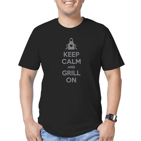 Keep calm and grill on Men's Fitted T-Shirt (dark)