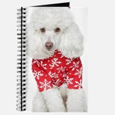 White Toy Poodle In Christmas Hat - Journal