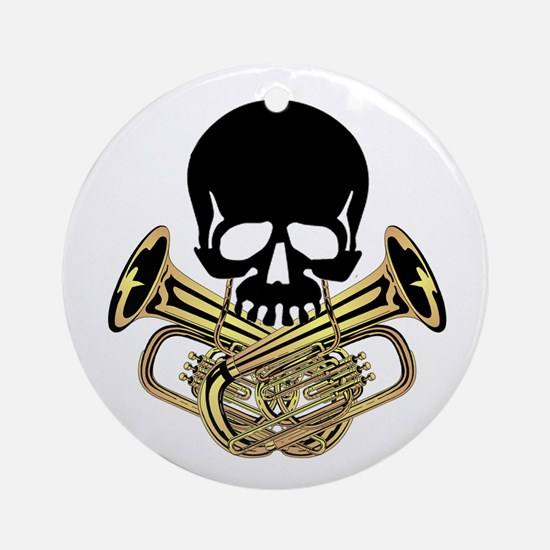 Skull with Tuba Crossbones Ornament (Round)