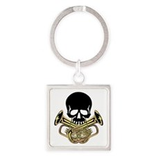 Skull with Tuba Crossbones Square Keychain